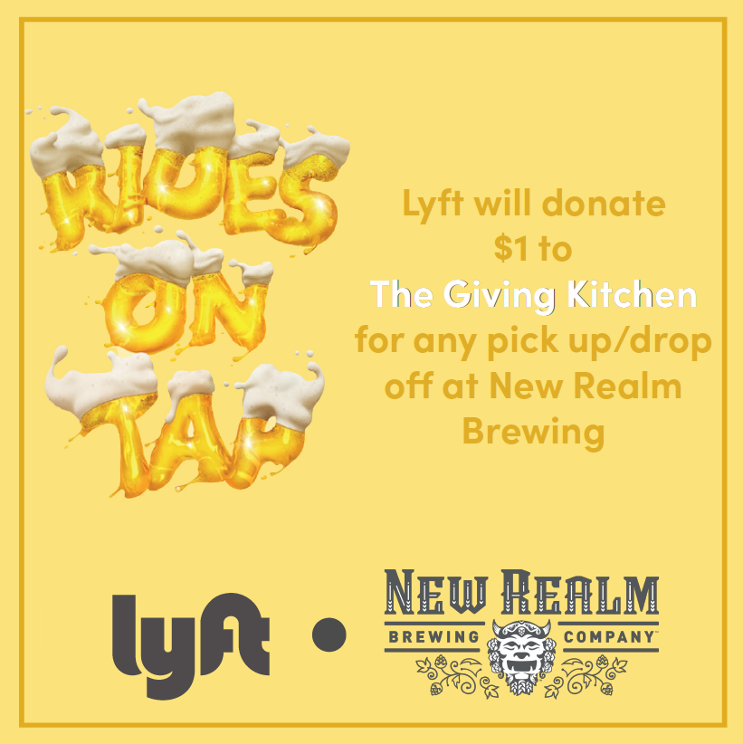 New Realm Brewing Partners with Lyft on Giving Kitchen Donation Program
